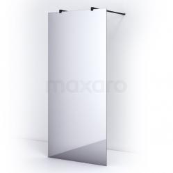 Vrijstaande Inloopdouche 95cm Spiegelglas Veiligheidsglas 8mm Mat Zwart