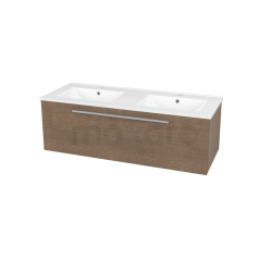 Badkamermeubel 120cm Modulo Bruin 1 Lade Vlak Wastafel Keramiek Showroommodel