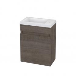 Toiletmeubel met Wastafel Mineraalmarmer Curve Grijs Eiken 40cm