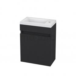 Toiletmeubel met Wastafel Mineraalmarmer Curve Mat Zwart 40cm