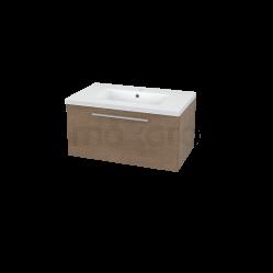 Badkamermeubel 80cm Modulo Bruin 1 Lade Vlak Wastafel Keramiek Showroommodel