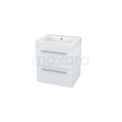 Badkamermeubel 60cm Modulo Hoogglans Wit 2 Lades Vlak Wastafel Mineraalmarmer Showroommodel