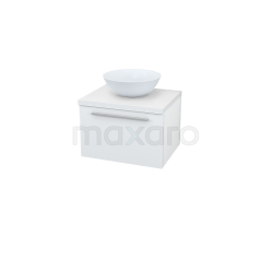 Badkamermeubel voor Waskom 60cm Modulo Plato Hoogglans Wit 1 Lade Vlak Showroommodel