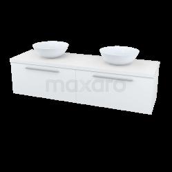 Badkamermeubel voor Waskom 160cm Modulo Plato Hoogglans Wit 2 Lades Vlak