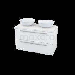 Badkamermeubel voor Waskom 100cm Modulo Plato Hoogglans Wit 2 Lades Vlak