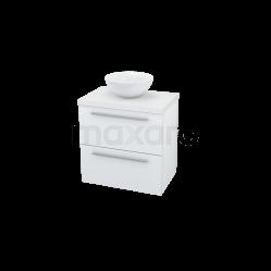 Badkamermeubel voor Waskom 60cm Modulo Plato Slim Hoogglans Wit 2 Lades Vlak