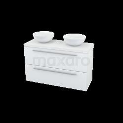 Badkamermeubel voor Waskom 100cm Modulo Plato Slim Hoogglans Wit 2 Lades Vlak Showroommodel