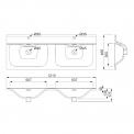 Badkamermeubel 120cm Modulo+ Hoogglans Wit 2 Lades Vlak Wastafel Keramiek