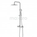 Regendouche Set Balance Chrome 25cm Opbouw Thermostaat Chroom Maxaro Balance DSC-0304-10001
