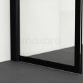 Inloopdouche 140x120cm Zwarte Strepen Veiligheidsglas 8mm Mat Zwart