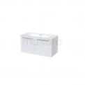 Badkamermeubel 100cm Box Wit 2 Deuren Vlak Wastafel Keramiek Maxaro Box BMA007305