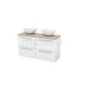 Badkamermeubel voor Waskom 120cm Hoogglans Wit Vlak Modulo+ Plato Slim Eiken Blad Maxaro Modulo+ Plato Slim BMD000163