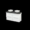 Badkamermeubel voor Waskom 120cm Hoogglans Wit Kader Modulo+ Plato Slim Carbon Blad Maxaro Modulo+ Plato Slim BMD000172