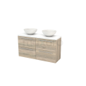 Badkamermeubel voor Waskom 120cm Eiken Vlak Modulo+ Plato Slim Hoogglans Wit Blad Maxaro Modulo+ Plato Slim BMD000189