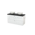 Badkamermeubel voor Waskom 120cm Hoogglans Wit Lamel Modulo+ Plato Carbon Blad Maxaro Modulo+ Plato BMK001998