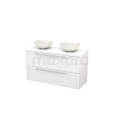 Badkamermeubel voor Waskom 120cm Modulo+ Plato Hoogglans Wit 2 Lades Kader Maxaro Modulo+ Plato BMK002002
