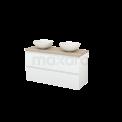 Badkamermeubel voor Waskom 120cm Hoogglans Wit Greeploos Modulo+ Plato Eiken Blad Maxaro Modulo+ Plato BMK002011