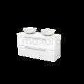Badkamermeubel voor Waskom 120cm Modulo+ Plato Mat Wit 2 Lades Kader Maxaro Modulo+ Plato BMK002026