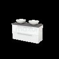 Badkamermeubel voor Waskom 120cm Mat Wit Kader Modulo+ Plato Basalt Blad Maxaro Modulo+ Plato BMK002027