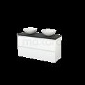 Badkamermeubel voor Waskom 120cm Mat Wit Greeploos Modulo+ Plato Carbon Blad Maxaro Modulo+ Plato BMK002034