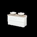 Badkamermeubel voor Waskom 120cm Mat Wit Greeploos Modulo+ Plato Eiken Blad Maxaro Modulo+ Plato BMK002035