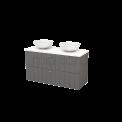 Badkamermeubel voor Waskom 120cm Basalt Lamel Modulo+ Plato Hoogglans Wit Blad Maxaro Modulo+ Plato BMK002042