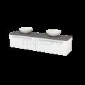 Badkamermeubel voor Waskom 180cm Hoogglans Wit Vlak Modulo+ Plato Basalt Blad Maxaro Modulo+ Plato BMK002351