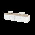 Badkamermeubel voor Waskom 180cm Hoogglans Wit Greeploos Modulo+ Plato Eiken Blad Maxaro Modulo+ Plato BMK002371
