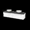 Badkamermeubel voor Waskom 180cm Mat Wit Kader Modulo+ Plato Carbon Blad Maxaro Modulo+ Plato BMK002388