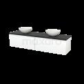 Badkamermeubel voor Waskom 180cm Mat Wit Greeploos Modulo+ Plato Carbon Blad Maxaro Modulo+ Plato BMK002394