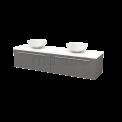 Badkamermeubel voor Waskom 180cm Basalt Vlak Modulo+ Plato Hoogglans Wit Blad Maxaro Modulo+ Plato BMK002399