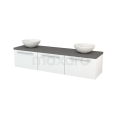 Badkamermeubel voor Waskom 180cm Hoogglans Wit Vlak Modulo+ Plato Basalt Blad Maxaro Modulo+ Plato BMK002441