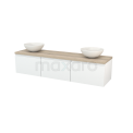 Badkamermeubel voor Waskom 180cm Hoogglans Wit Greeploos Modulo+ Plato Eiken Blad Maxaro Modulo+ Plato BMK002461