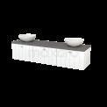 Badkamermeubel voor Waskom 180cm Mat Wit Lamel Modulo+ Plato Basalt Blad Maxaro Modulo+ Plato BMK002471