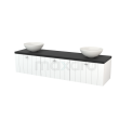 Badkamermeubel voor Waskom 180cm Mat Wit Lamel Modulo+ Plato Carbon Blad Maxaro Modulo+ Plato BMK002472
