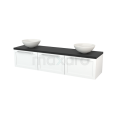 Badkamermeubel voor Waskom 180cm Mat Wit Kader Modulo+ Plato Carbon Blad Maxaro Modulo+ Plato BMK002478
