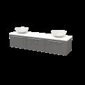 Badkamermeubel voor Waskom 180cm Basalt Vlak Modulo+ Plato Hoogglans Wit Blad Maxaro Modulo+ Plato BMK002489