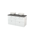 Badkamermeubel voor Waskom 120cm Hoogglans Wit Lamel Modulo+ Plato Basalt Blad Maxaro Modulo+ Plato BMK002537