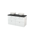 Badkamermeubel voor Waskom 120cm Hoogglans Wit Lamel Modulo+ Plato Carbon Blad Maxaro Modulo+ Plato BMK002538