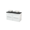 Badkamermeubel voor Waskom 120cm Hoogglans Wit Kader Modulo+ Plato Carbon Blad Maxaro Modulo+ Plato BMK002544