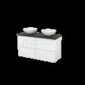 Badkamermeubel voor Waskom 120cm Hoogglans Wit Greeploos Modulo+ Plato Carbon Blad Maxaro Modulo+ Plato BMK002550