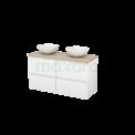 Badkamermeubel voor Waskom 120cm Hoogglans Wit Greeploos Modulo+ Plato Eiken Blad Maxaro Modulo+ Plato BMK002551