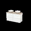 Badkamermeubel voor Waskom 120cm Mat Wit Greeploos Modulo+ Plato Eiken Blad Maxaro Modulo+ Plato BMK002575