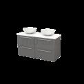 Badkamermeubel voor Waskom 120cm Basalt Vlak Modulo+ Plato Hoogglans Wit Blad Maxaro Modulo+ Plato BMK002579