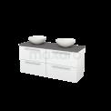 Badkamermeubel voor Waskom 140cm Hoogglans Wit Vlak Modulo+ Plato Basalt Blad Maxaro Modulo+ Plato BMK002621