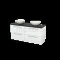 Badkamermeubel voor Waskom 140cm Hoogglans Wit Vlak Modulo+ Plato Carbon Blad Maxaro Modulo+ Plato BMK002622