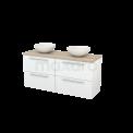 Badkamermeubel voor Waskom 140cm Hoogglans Wit Vlak Modulo+ Plato Eiken Blad Maxaro Modulo+ Plato BMK002623