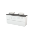 Badkamermeubel voor Waskom 140cm Hoogglans Wit Greeploos Modulo+ Plato Basalt Blad Maxaro Modulo+ Plato BMK002639
