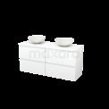 Badkamermeubel voor Waskom 140cm Modulo+ Plato Mat Wit 4 Lades Greeploos Maxaro Modulo+ Plato BMK002662