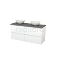 Badkamermeubel voor Waskom 140cm Mat Wit Greeploos Modulo+ Plato Basalt Blad Maxaro Modulo+ Plato BMK002663